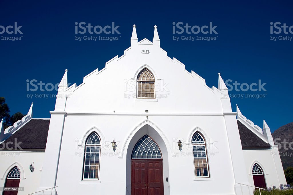 Colonial architecture dated from 1855 in Franschhoek near Cape Town....