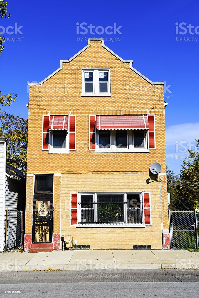 Dutch Colonial style townhouse in Burnside, Chicago royalty-free stock photo