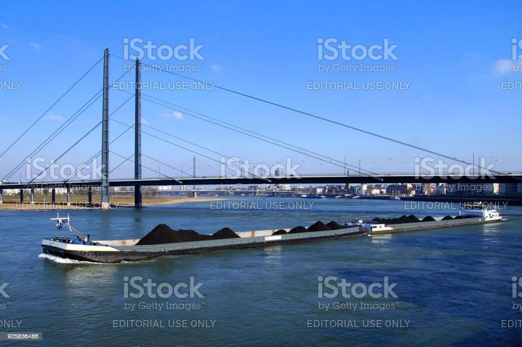 Dutch combi inland waterway motor freighter Company stock photo