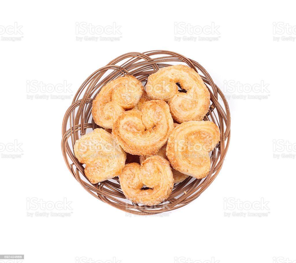Dutch cookie in basket stock photo