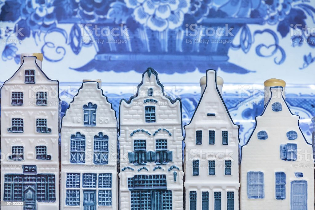 Dutch Delft souvenir houses in front of an old plate stock photo