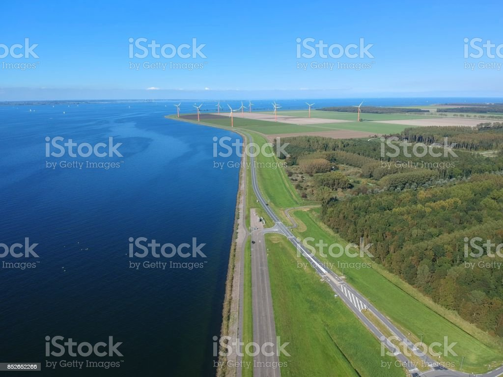 Dutch dike and polder stock photo