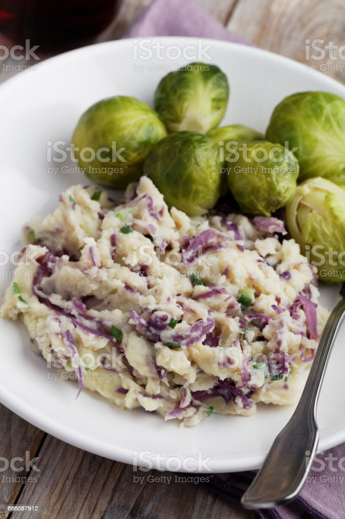 Dutch dish Stamppot with red cabbage and Brussels sprout royalty-free stock photo