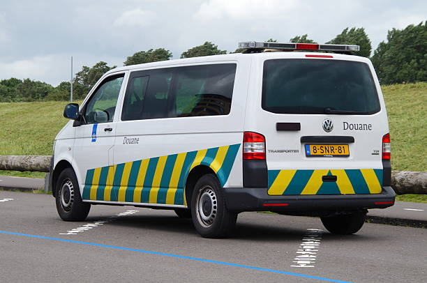 Dutch Douane Customs - Belastingdienst Almere, The Netherlands - July 11, 2016: Dutch Douane Customs van standing in a public parking lot.  customs official stock pictures, royalty-free photos & images