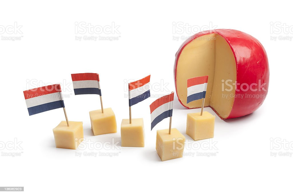 Dutch Edam cheese blocks stock photo