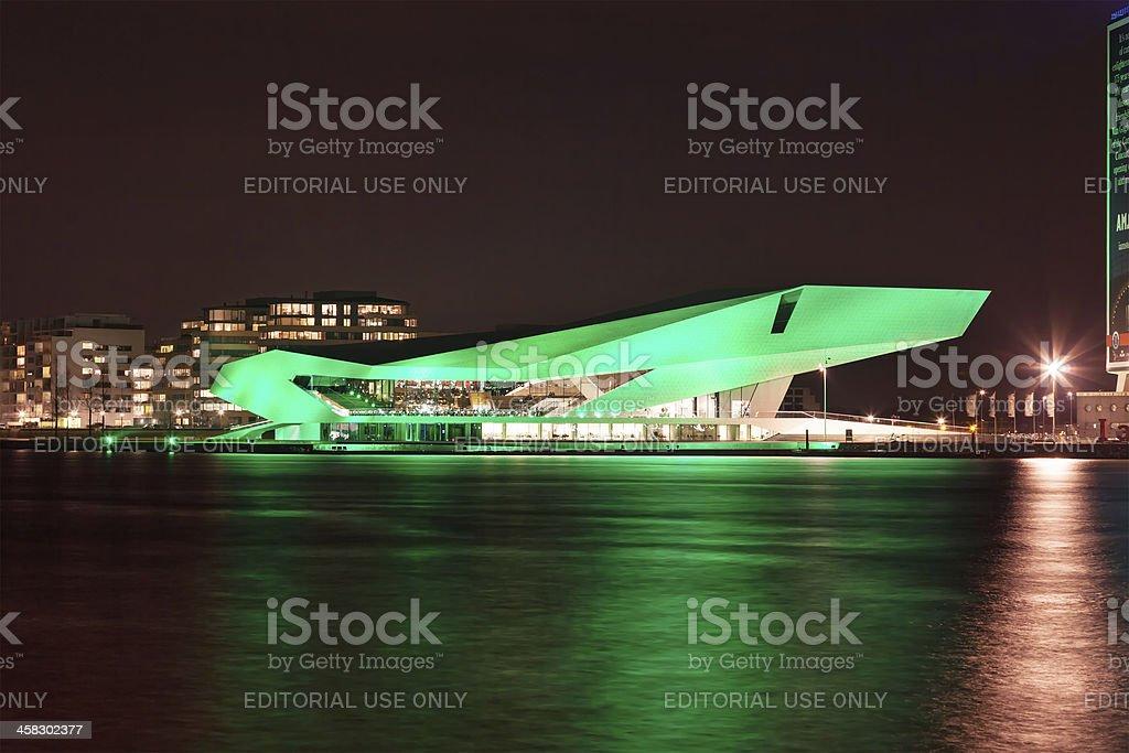 Dutch Film Institute EYE goes green on Saint Patrick's Day stock photo