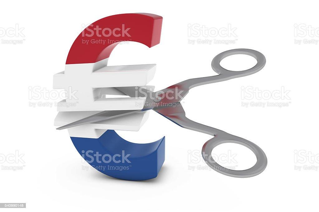 Dutch Flag Euro Symbol Cut in Half with Scissors stock photo