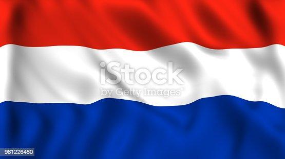 istock Dutch flag waving in the wind 961226480