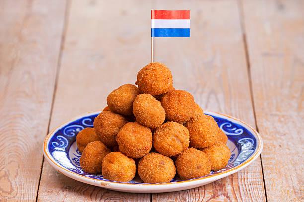 Dutch food: 'bittergarnituur' or 'bitterballen', deep fried snacks stock photo