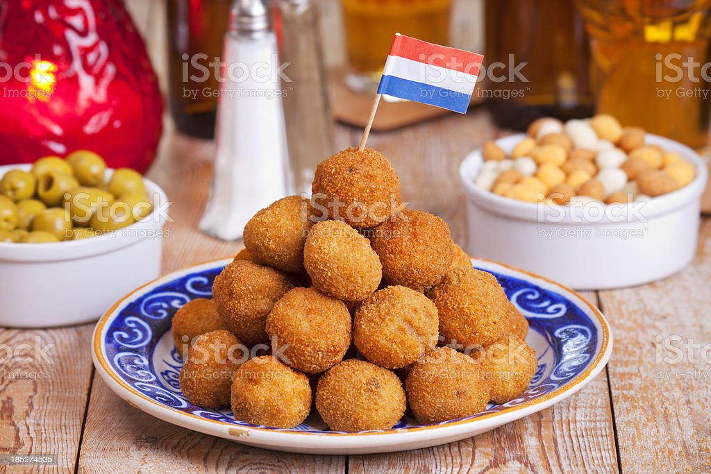 Dutch food: 'bittergarnituur' or 'bitterballen', deep fried snacks stock photo
