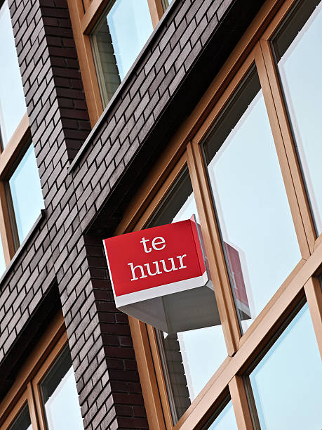 Dutch for rent sign on an apartment building stock photo
