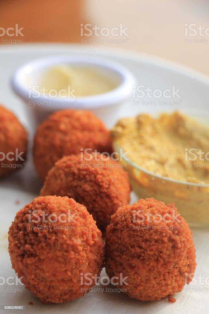 Dutch fried snack: bitterballen stock photo