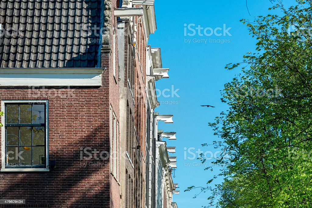 Dutch gable houses in Spring time, Amsterdam, the Netherlands stock photo