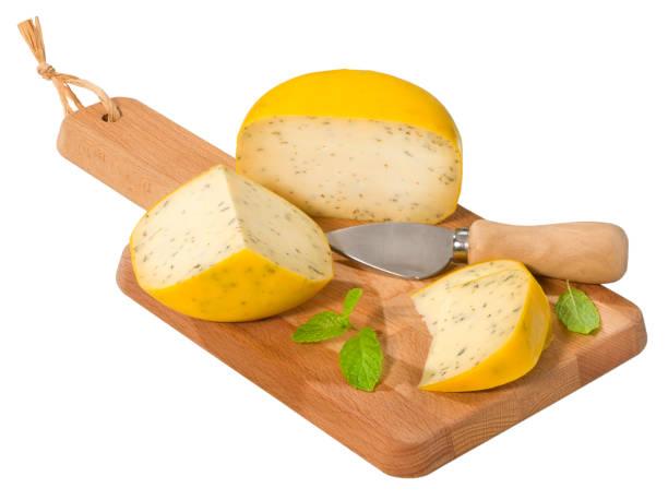 Dutch Herb Gouda cheese stock photo