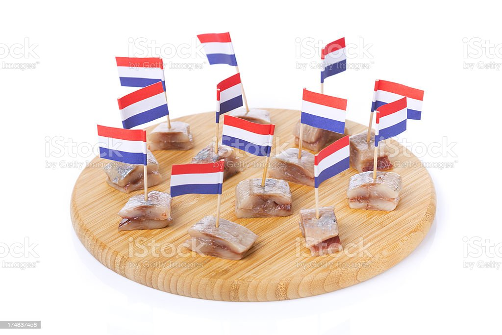 Dutch herring ('haring'), isolated on white royalty-free stock photo