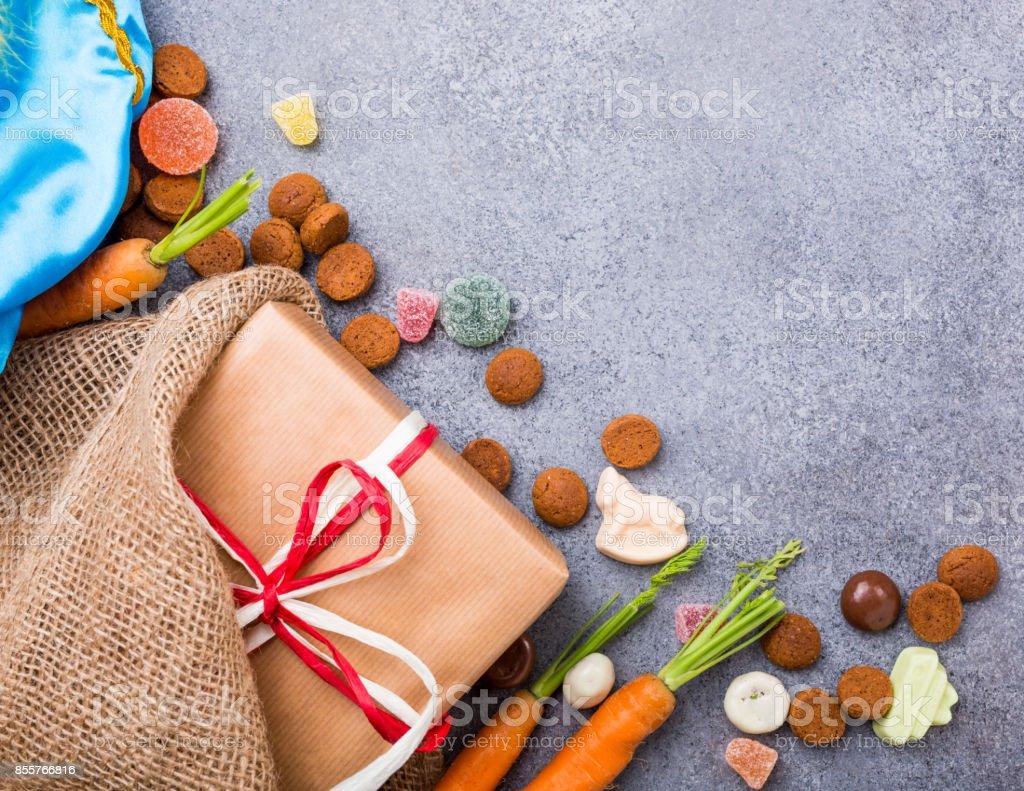 Dutch holiday Sinterklaas background stock photo