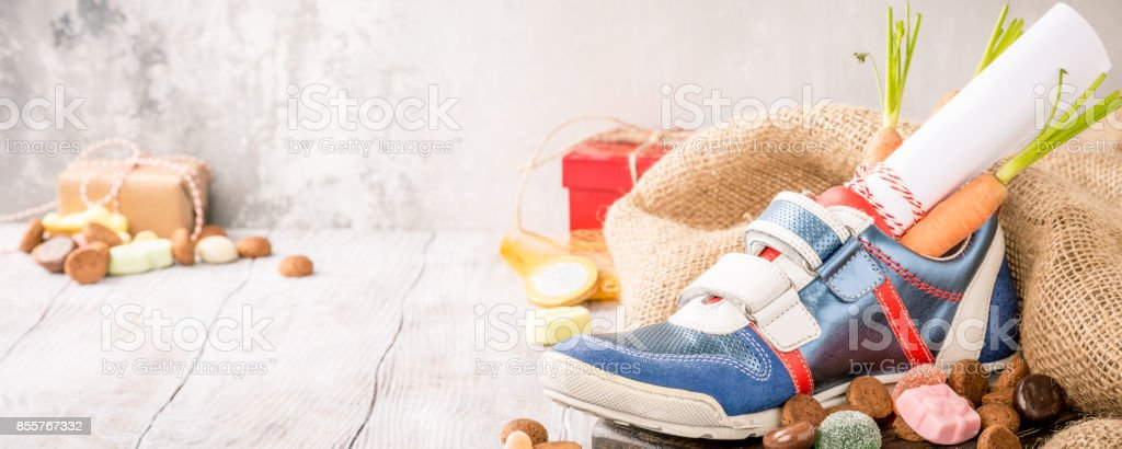 Dutch holiday Sinterklaas composition stock photo