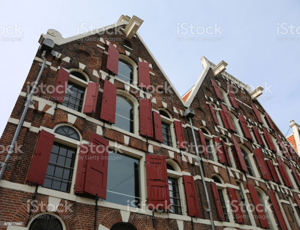 Dutch house facades and under the roof the protruding hook to li stock photo