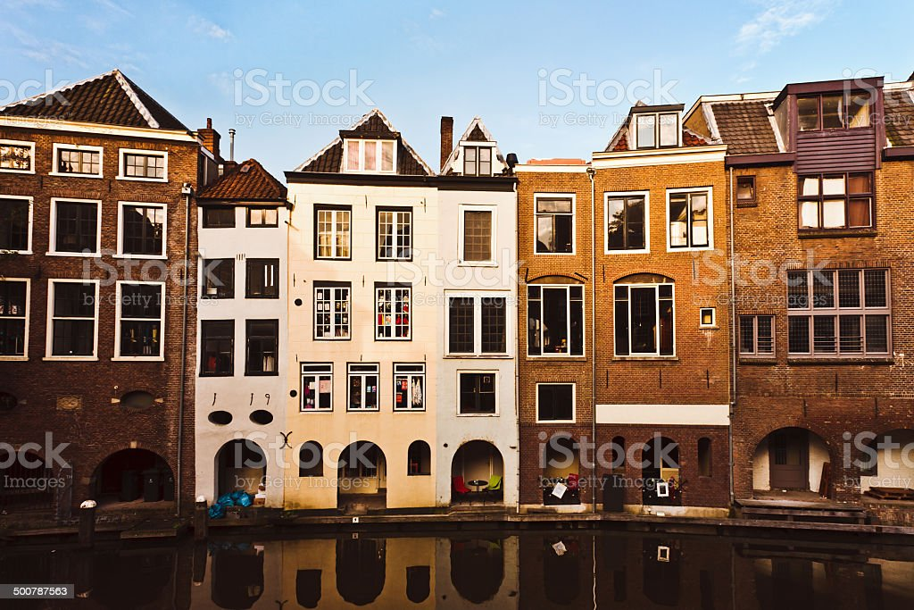 Dutch Houses by Canal stock photo