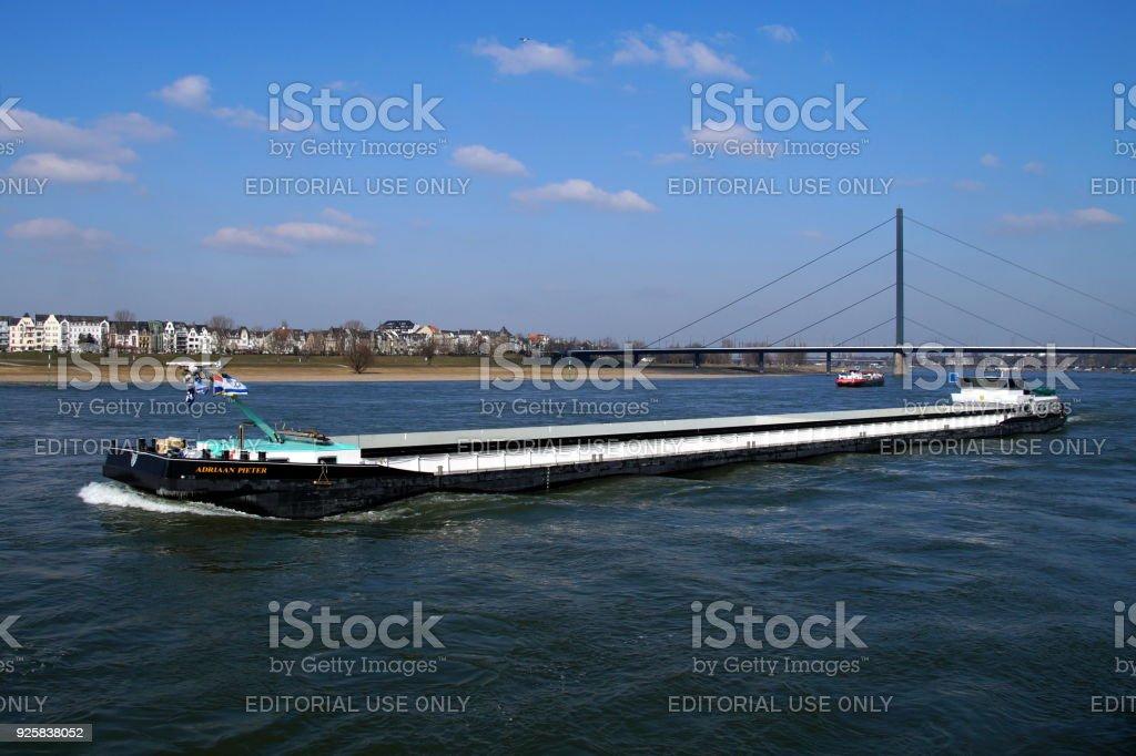 Dutch inland waterway motor freighter Adriaan Pieter stock photo
