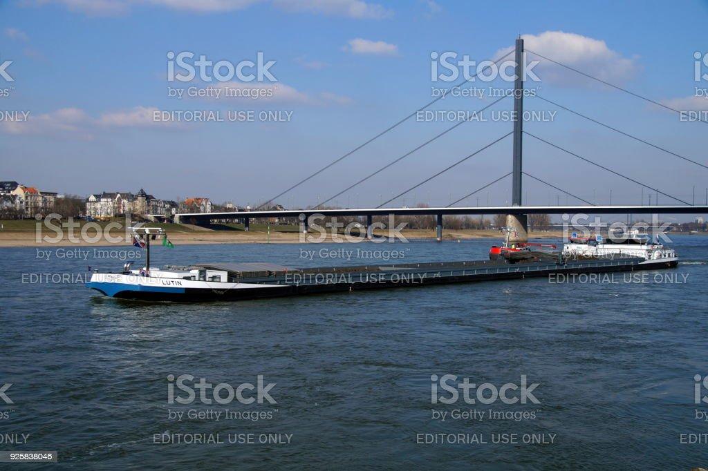 Dutch inland waterway motor freighter Lutin. stock photo