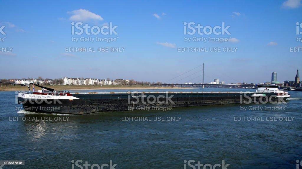 Dutch inland waterway motor freighter SAILING-HOME stock photo