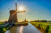 old antique windmill against a sky; South Holland