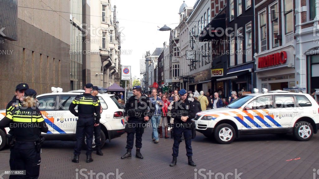 Dutch Military And Local Police Officers View During Prinsjesdag In The Hague The Netherlands.Europe stock photo