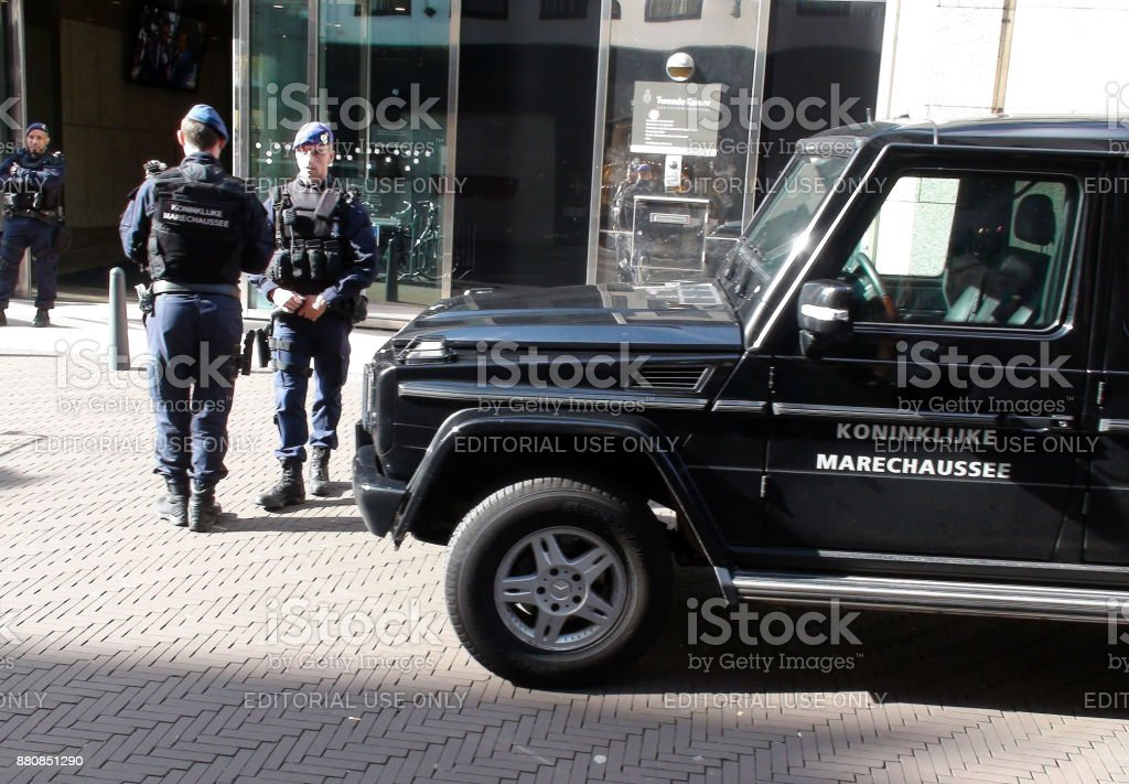 Dutch Military Police Officers Standing In front Of Parliament Building In The Hague The Netherlands stock photo