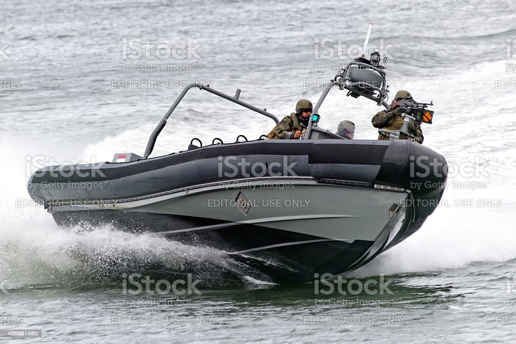 Dutch navy speedboat stock photo