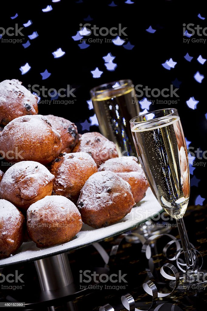 Dutch New Year's Eve with oliebollen, a traditional pastry stock photo