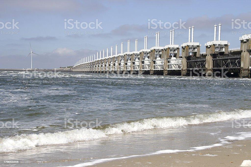 Dutch Oosterscheldekering, a storm surge barrier stock photo