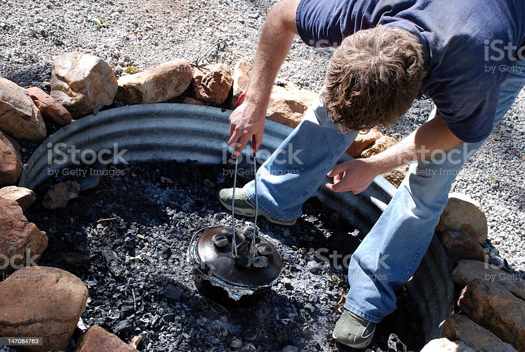 Dutch Oven Cooking royalty-free stock photo