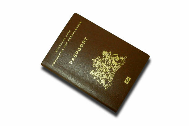 Dutch passport isolated on white background stock photo