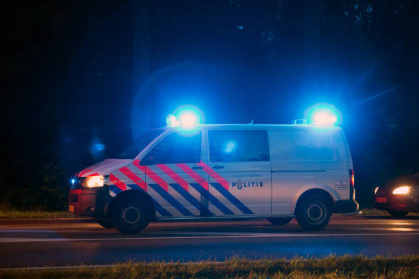 Dutch police car stock photo
