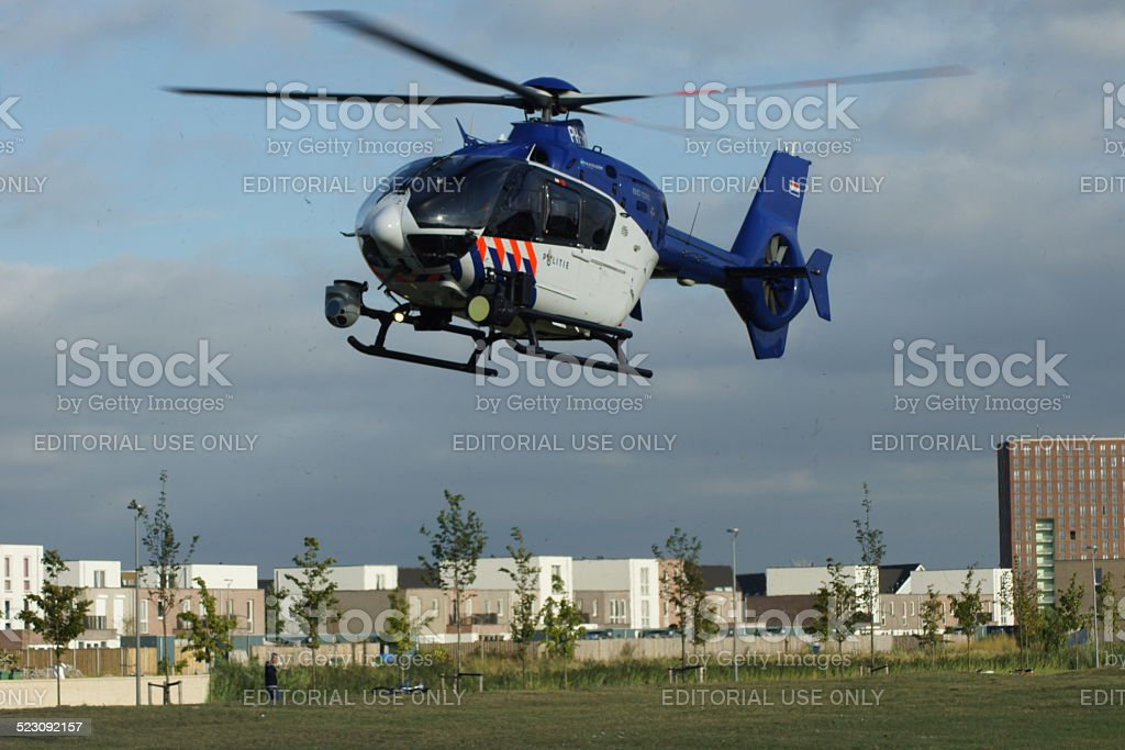 Dutch Police Helicopter In Flight Take Off Stock Photo