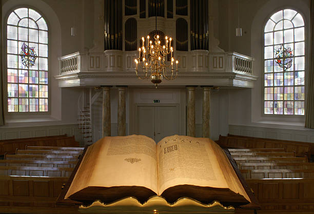 Dutch protestants church interior, seen from the pulpit Dutch protestants church interior, seen from the pulpit, with open Bible pulpit stock pictures, royalty-free photos & images