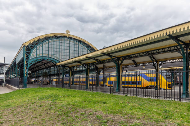 Dutch railway station Den Bosch with historic construction and roof stock photo