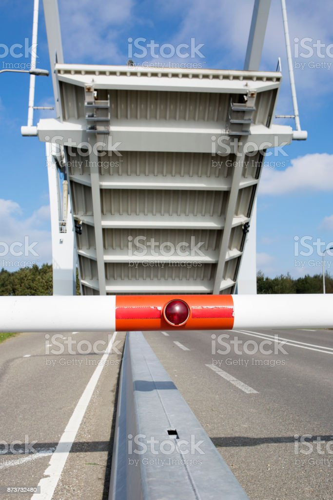 Dutch road sign and traffic light - drawbridge stock photo