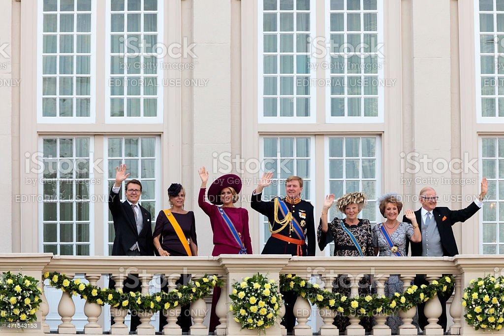 Dutch royal family waving to the crowd stock photo