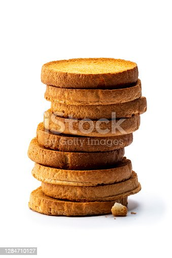 stack of rusks or biscuits isolated on white
