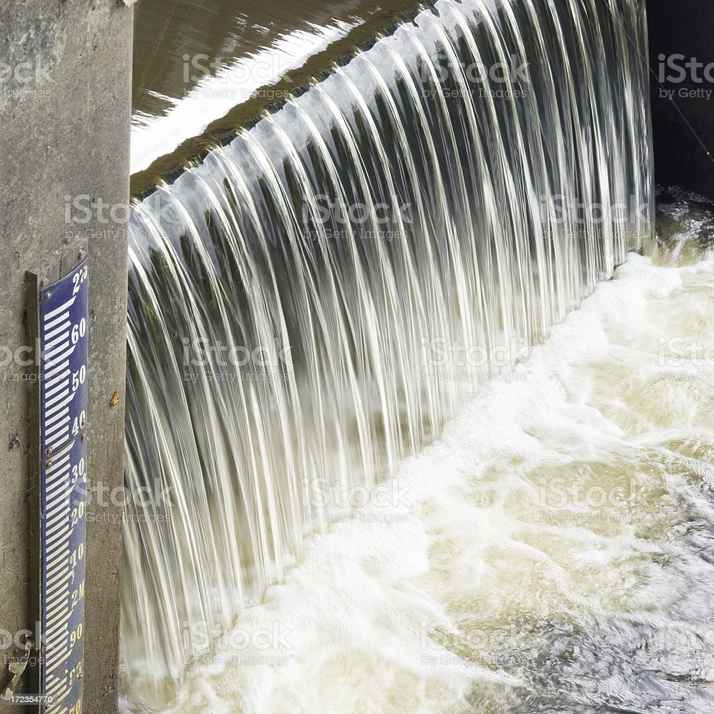 Dutch (small) Sluice with Water Gauge royalty-free stock photo