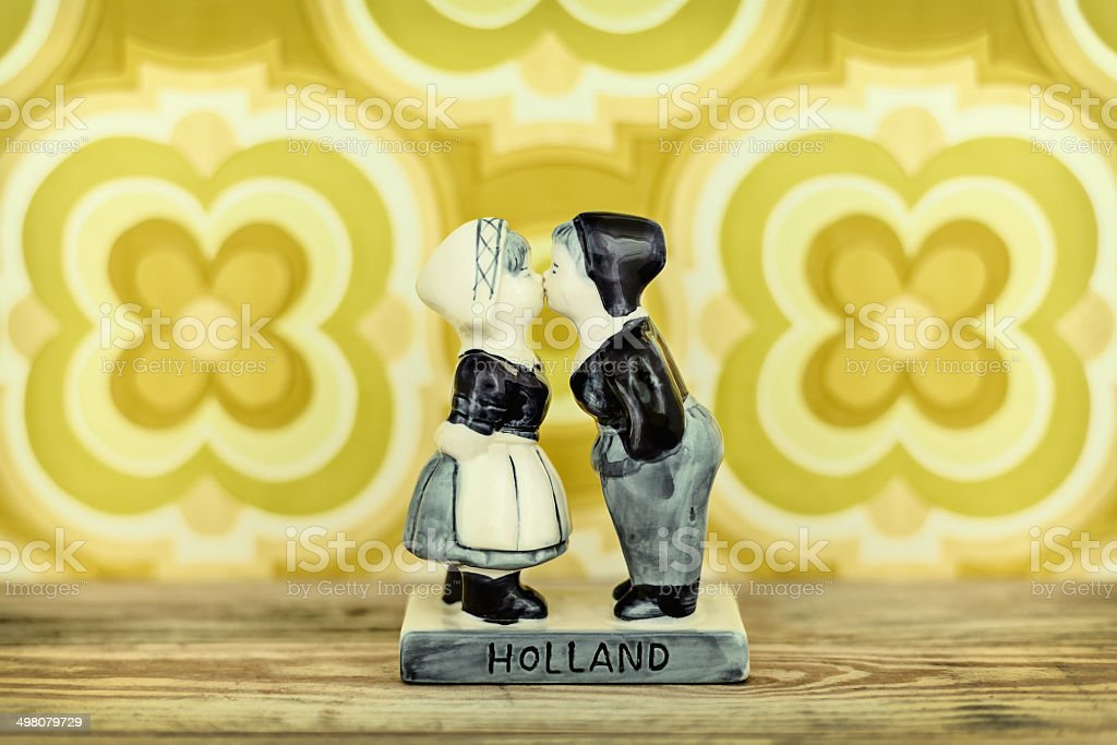 Dutch souvenir with kissing boy and girl stock photo