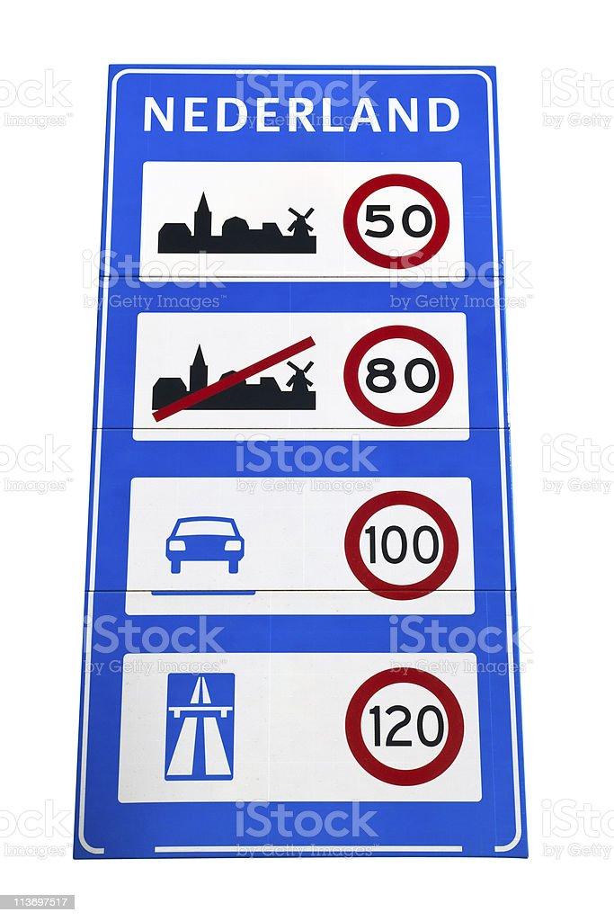 Dutch speedlimit sign stock photo