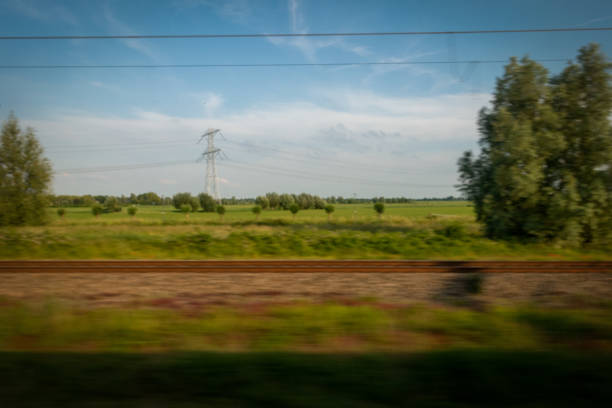 Dutch Stereotypical landscape train point of view in motion stock photo