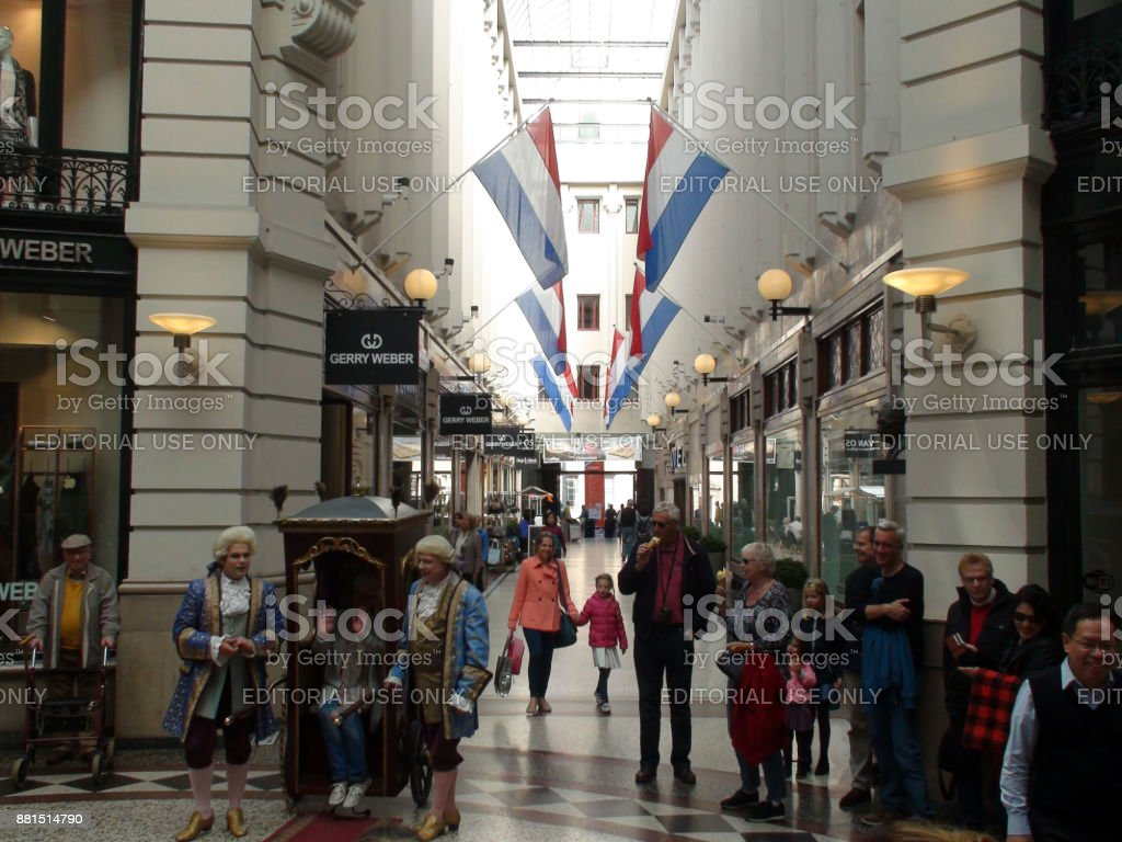Dutch Street Artist Performing Inside Shopping Mall Passage During Prinsjesdag Ceremony In The Hague.The Netherlands Europe stock photo