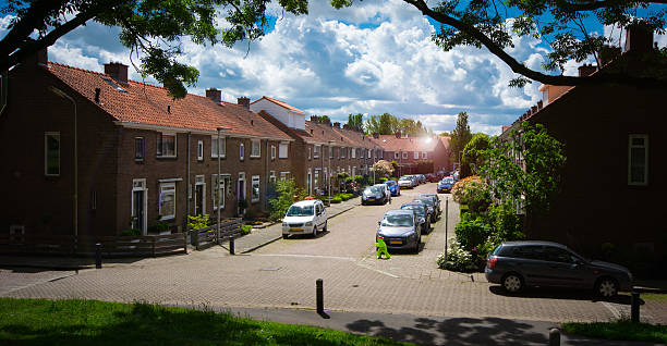 Dutch street in the green heart of holland stock photo