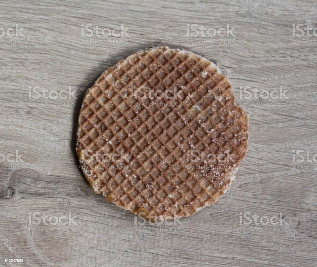 Dutch stroopwafel cookie stock photo