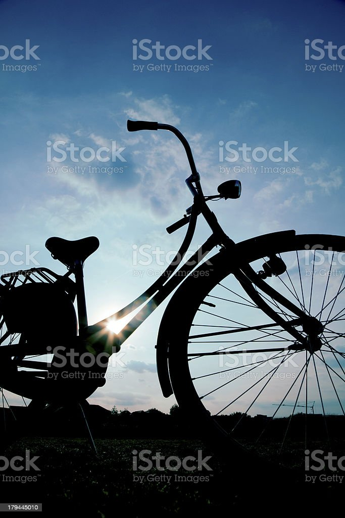 Dutch style bike silhouette royalty-free stock photo