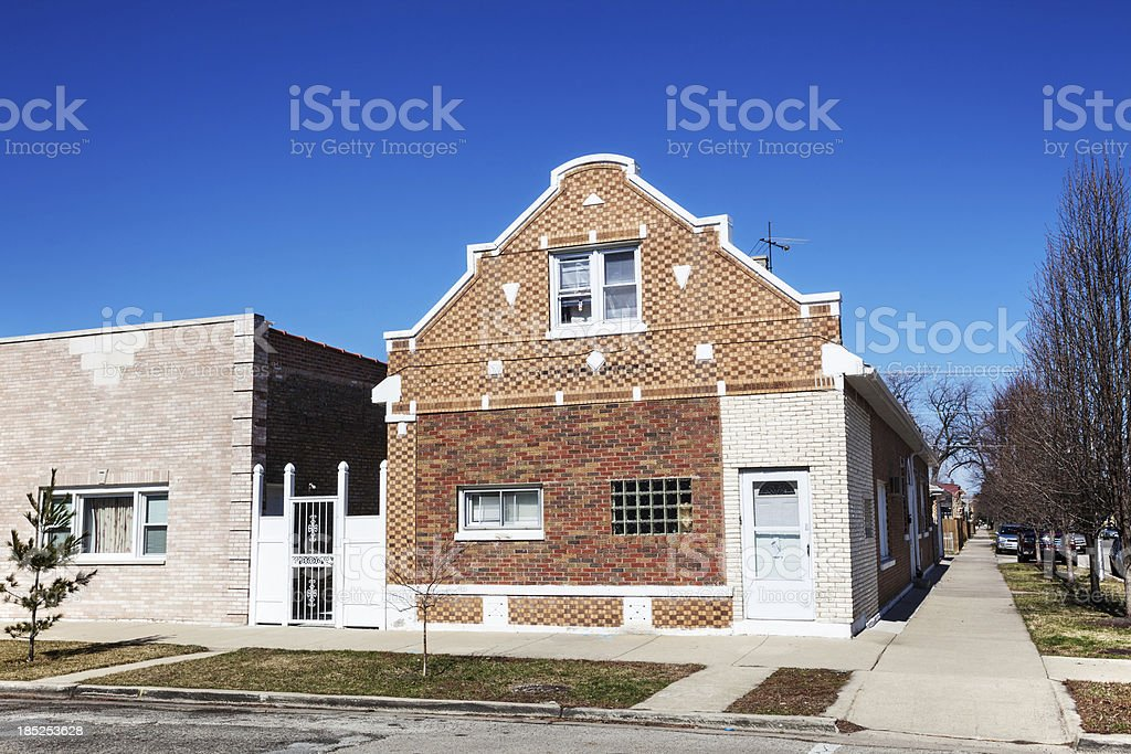 Dutch style vintage house in  West Elsdon, Chicago royalty-free stock photo